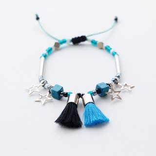 Blue black tassel star string bracelet
