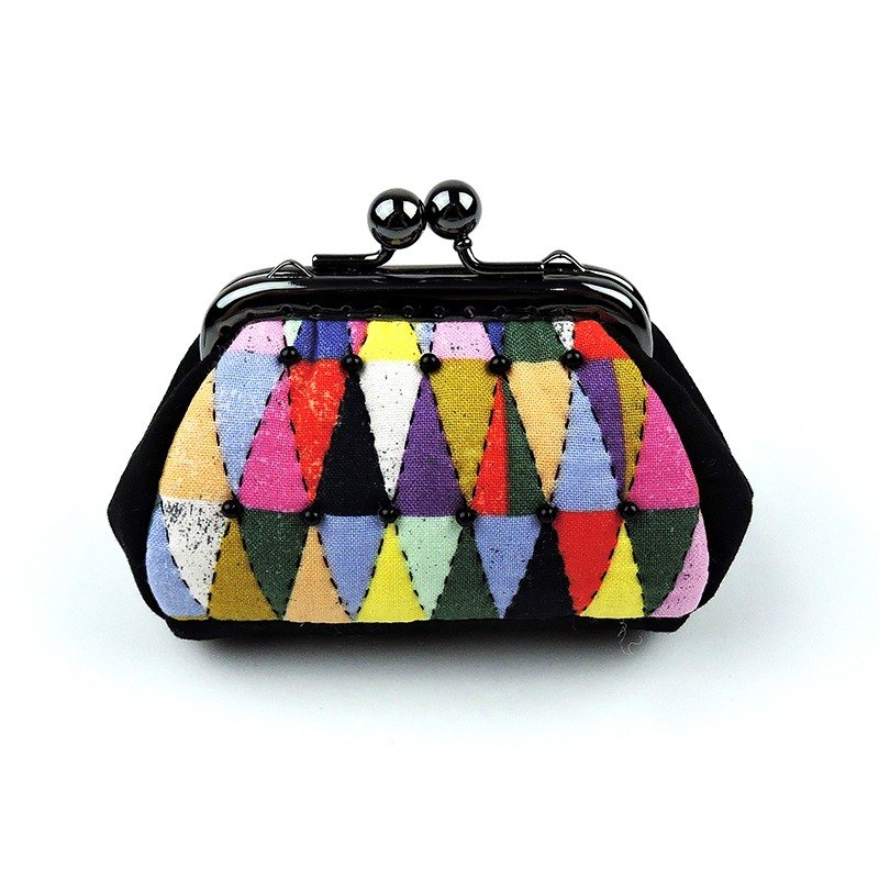 Color geometric fantasy world long mouth gold package purse