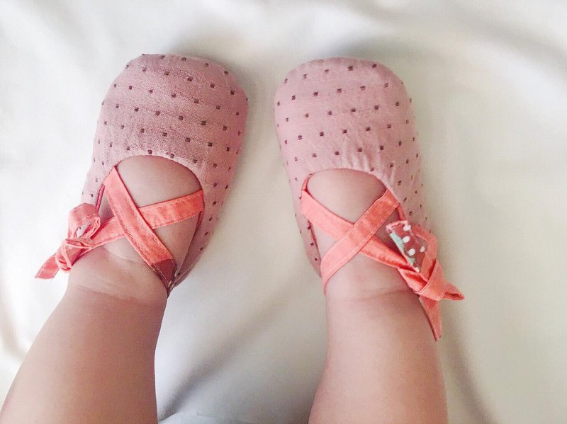 125 Japanese pink dyed X Japanese cotton handmade strap baby shoes baby shoes toddler shoes