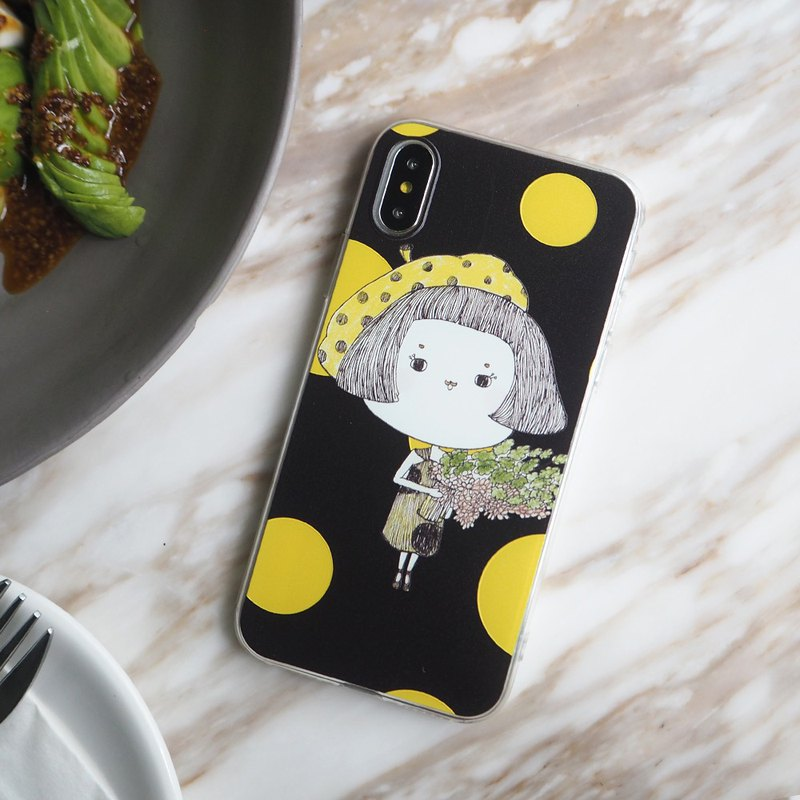 All-inclusive fall soft shell protector polka dot pattern holding flowers buns Miss iPhone