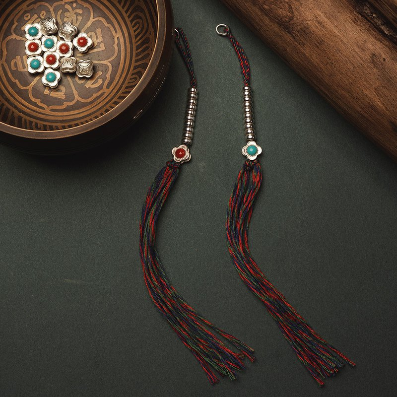 Nymphs remembered the original Tibetan 925 silver hand-woven beads counter South Red Green Song Wenhua accessories