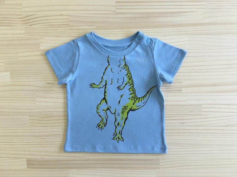 gujui I was a dinosaur - organic cotton short-sleeved shirt - blue