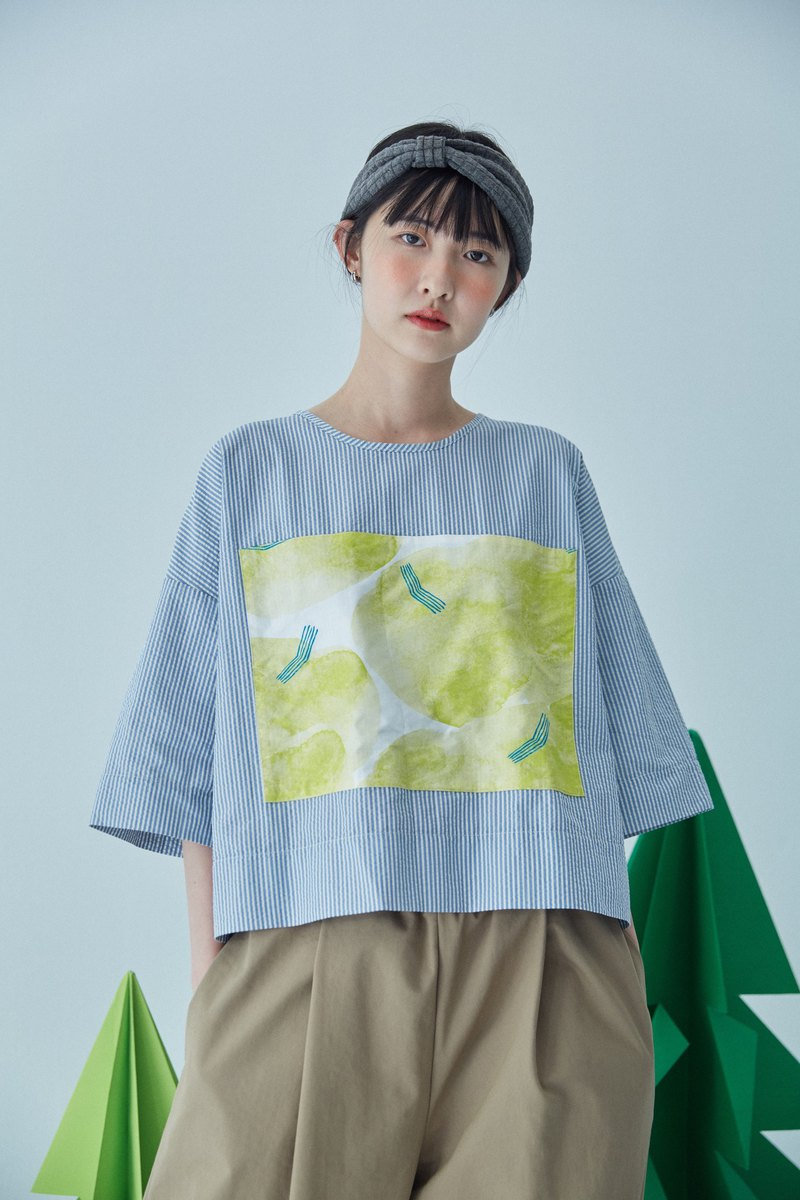 Short and long seven-point sleeve top