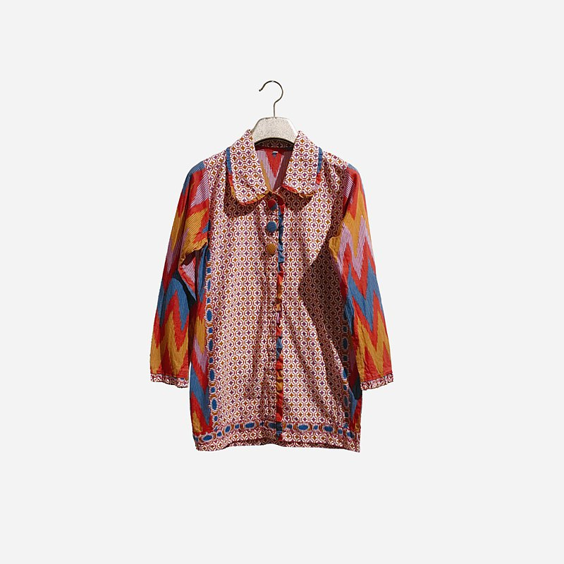 Dislocated vintage / colorful pattern shirt no.1315 vintage