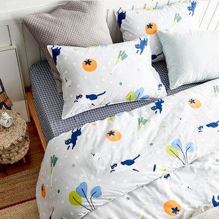 Dishes single bed double bed / bed bag hand-painted cat 40 cotton bedding pillowcase quilt cover