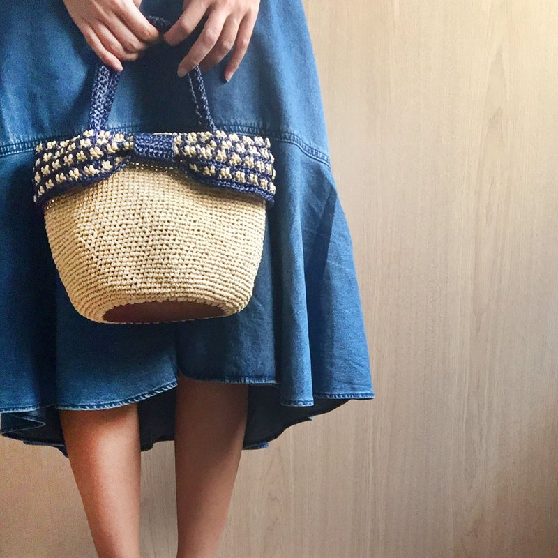 Handmade summer bow woven bag - cotton Raffia