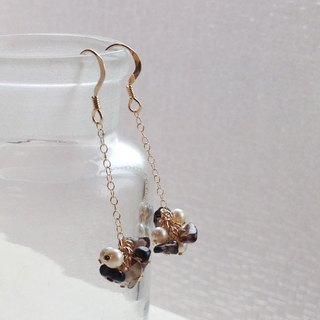 14kgf Vintage Pearl and Smoked Quartz Chain Earrings Earrings