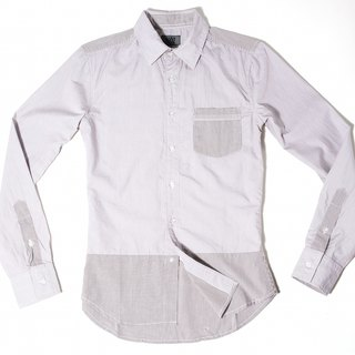 Brown striped long-sleeved shirt stitching