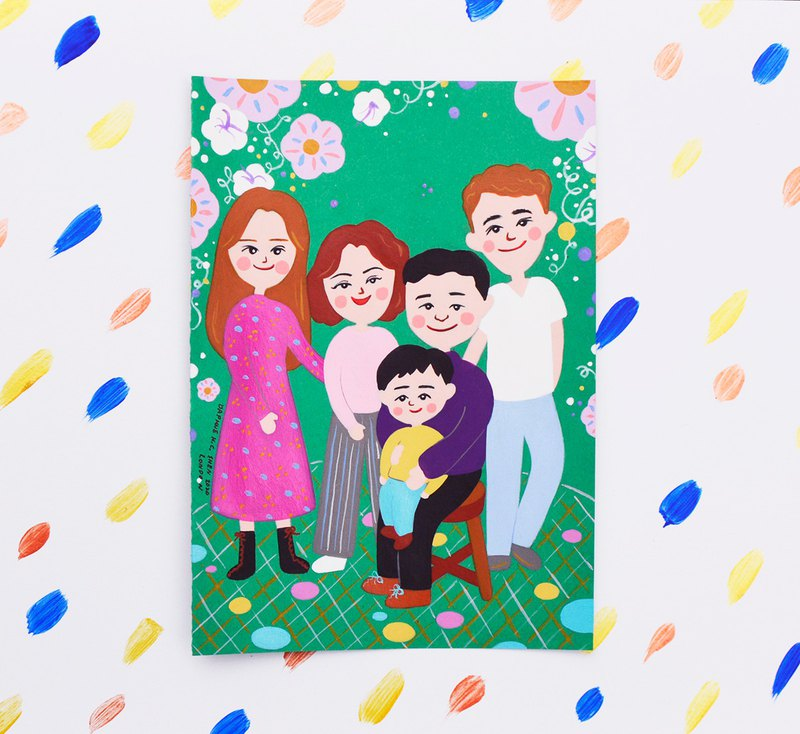 Family Series Custom Portrait of 5 People Birthday / Family Portrait / Family / Christmas / Wedding / Couple / Home