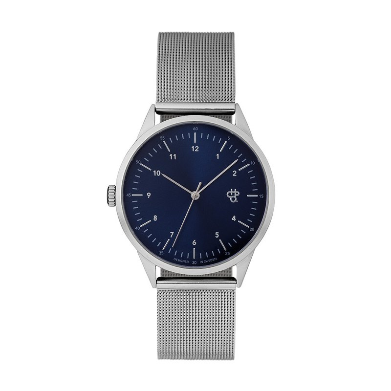 Swedish Brand - Nuno Collection Silver Blue Dial - Silver Milan with Adjustable Watch