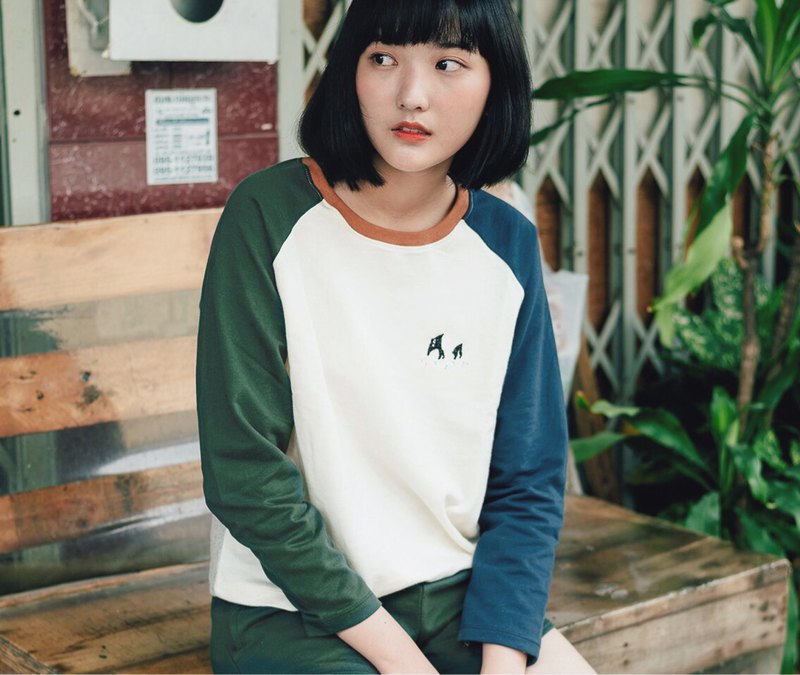 Tapir Embroidery : Long sleeve Shirt / Dark Green and Dark Blue Sleeves