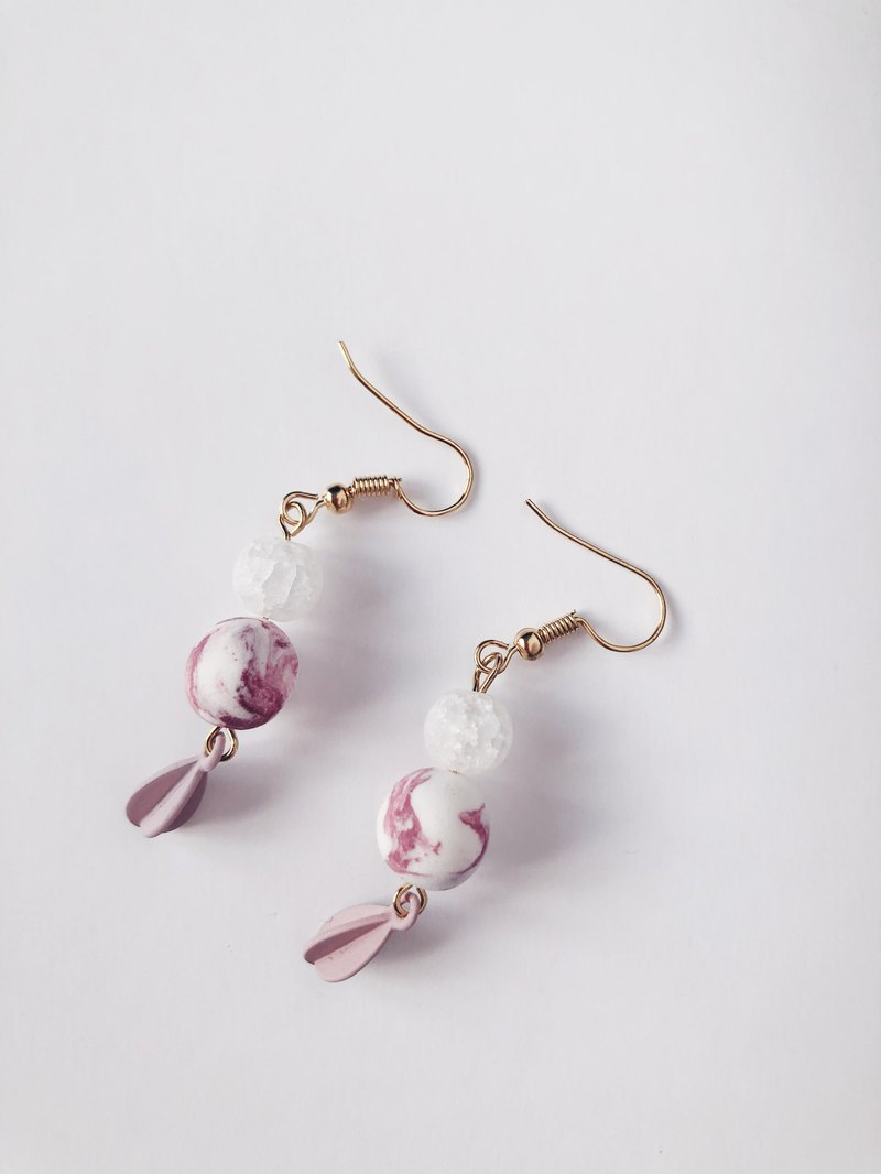 Pink ink ice earrings