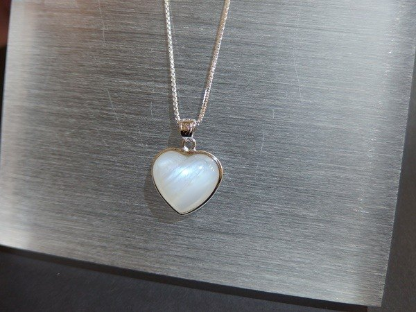 Natural Blue Moonstone Heart Shaped Silver Pendant Moonstone Silver Pendant