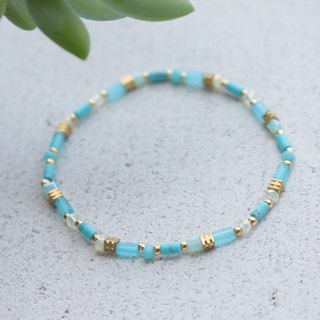 Glass Natural Stone Brass Bracelet 0592 Rainbow Candy