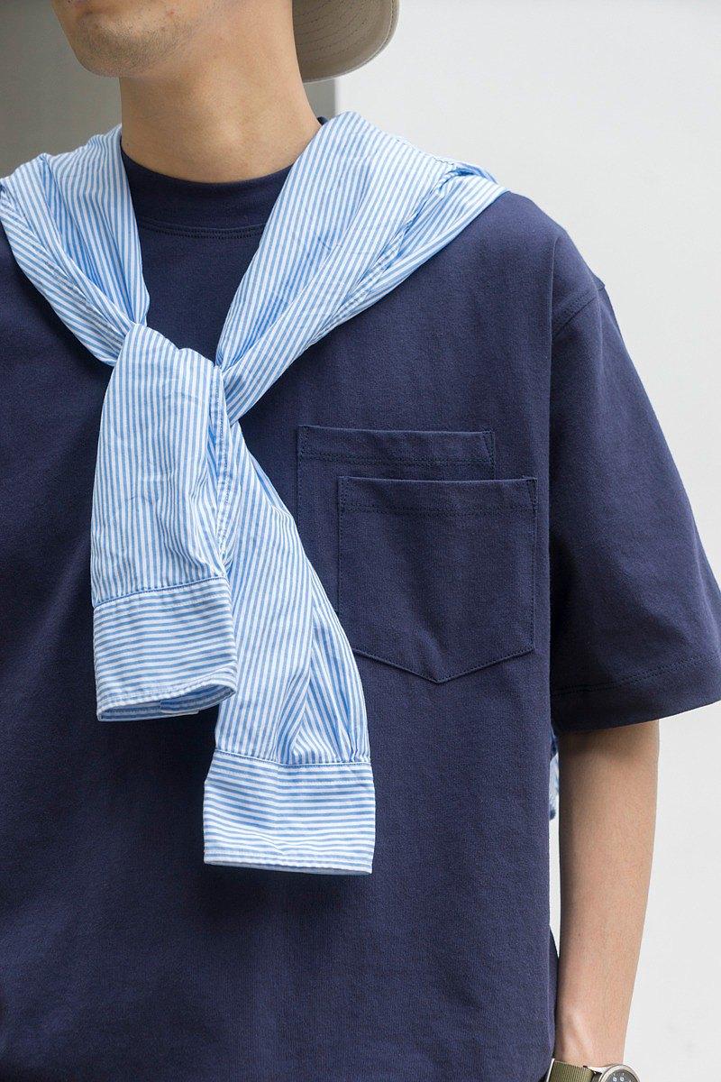 Pocket T-shirt 日系休閒純色寬鬆短袖T恤 質感超好 雙口袋設計