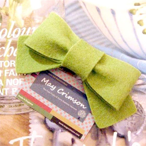 UK may-crimson ® pure handmade wool felt hairpin green bow knot money