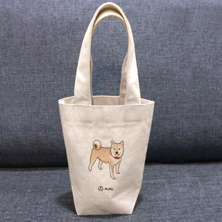 Shiba Inu-Standing---Taiwan-made cotton linen-Wen Chai Shijiao-Environmental-Beverage bag-Flies Planet
