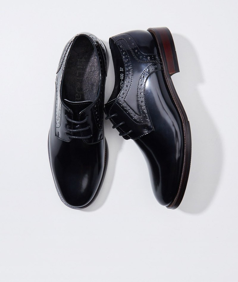 [Gentleman will] mirror leather side carved Derby shoes _ mysterious black