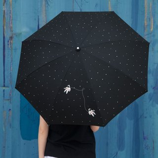 YIZISTORE women and two folding umbrella carom cloth printed manual creative small fresh sunny umbrellas umbrellas - Astronaut