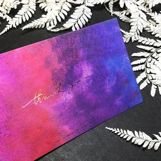 Gradient handwritten card in purple color - Thank you