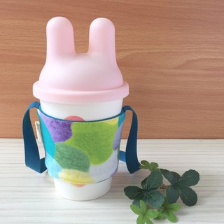 Adoubao- drink cup bag - blue green purple & hair ball print