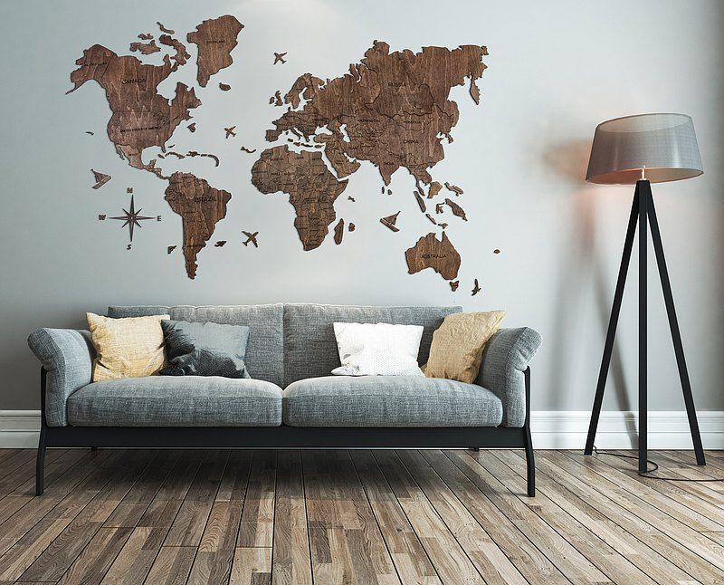 Wooden World Wall Map, Wooden Wall Map, Wall Maps with Pins, World Map Wall Art