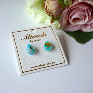 Water Droplet Green and Blue Pressed Flower Earrings in 925 Sterling Silver Post