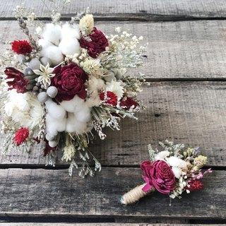 Exclusive orders Lin Yen [Good flower] Sun Rose Bridal bouquet Red and white Series Dry bouquets Wedding bouquets Outside the bouquet Holding a corsage