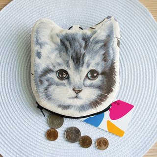 Lovely [Japanese cloth order] hand-painted wind cat head coin purse, A section