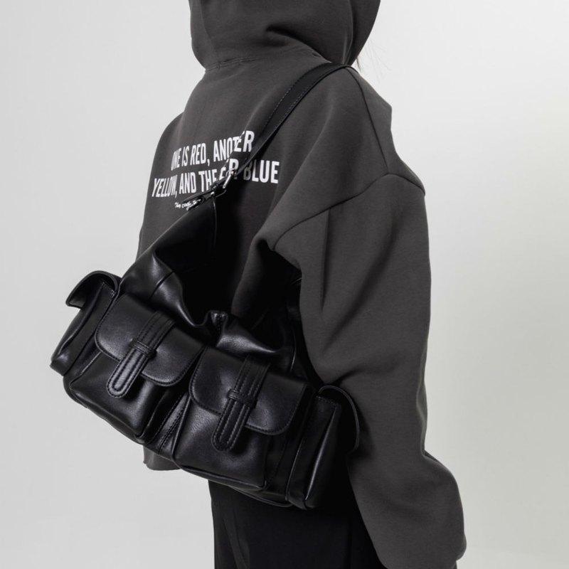 黑色 口袋精 兩用軟皮複古托特包 斜背肩挎包 酷感重工機車大背包