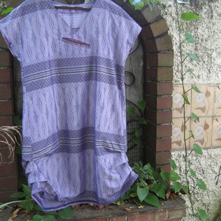 Tunic with a front pocket and side shirring Indonesian Sarong Fabric