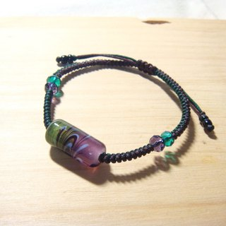 Grapefruit Lin handmade glass - two-color free totem bracelet (grape purple x Mexican green)