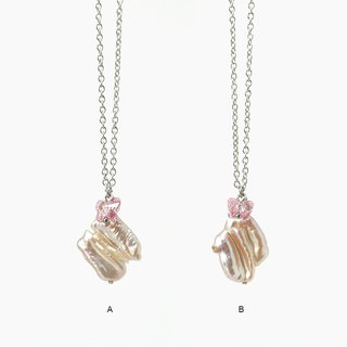 Unique Twin Biwa Baroque Pearl Necklace on Stainless Steel Chain