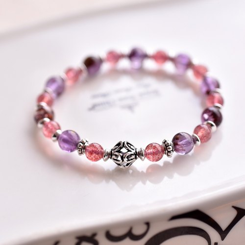 Amethyst + Strawberries + Hollow Lantern Beads Silver Bracelet