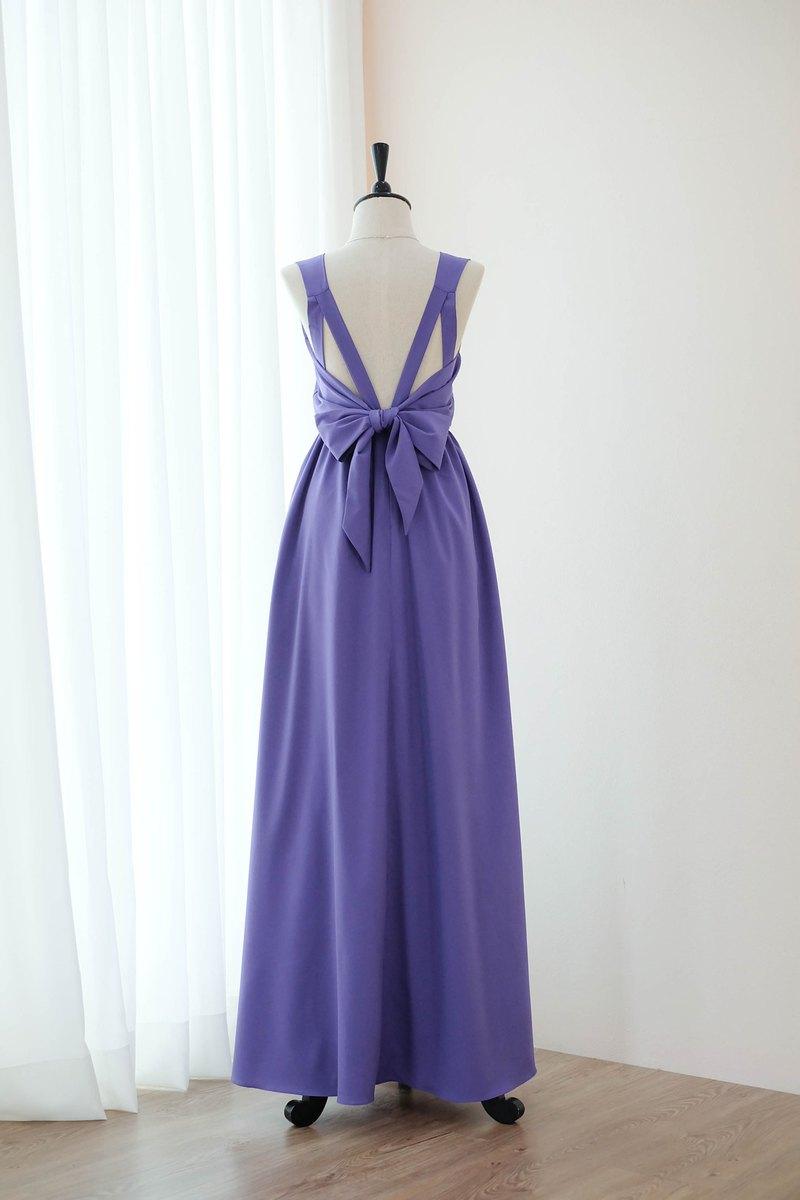 皇家紫禮服伴娘露背派對雞尾酒禮服