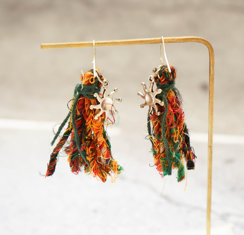 Handmade Sari Silk Tassel Earrings