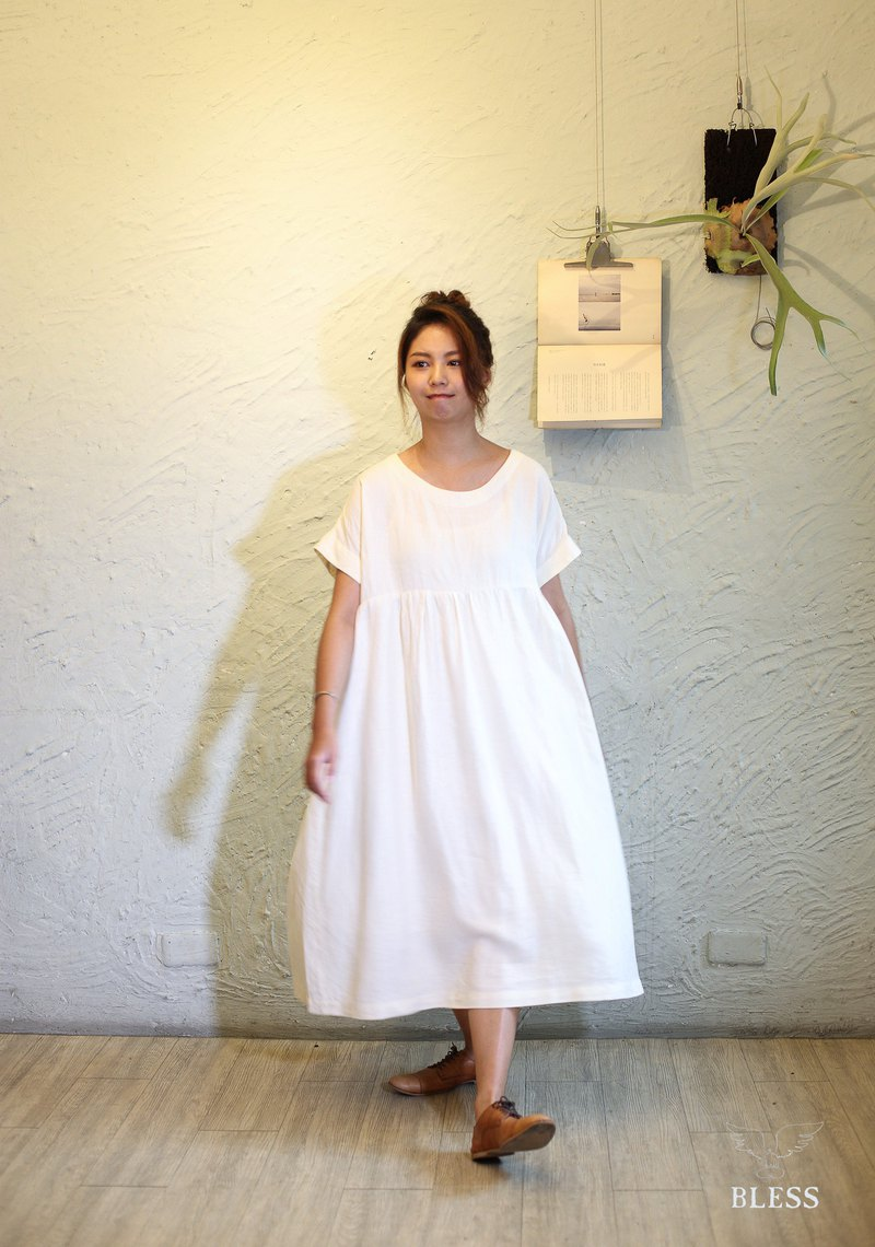 Natural linen fabric hand made dress