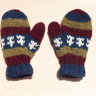 Limited edition knitted pure wool warm gloves / children's gloves / child gloves / inner bristles gloves / knitted gloves / boxing gloves - Eastern European contrast tones stripes