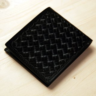 [Father's Day] [Leather Carving Series] [planting leather short clip] bamboo weave black leather short clip