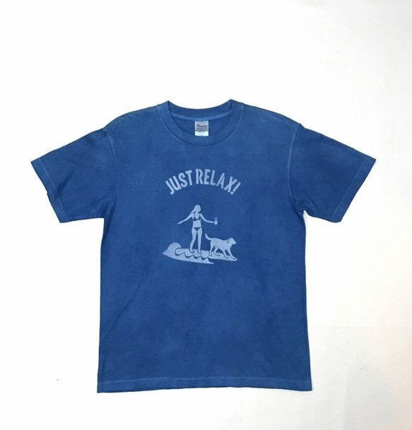 JUST RELAX TEE size S Indigo dyed 藍染