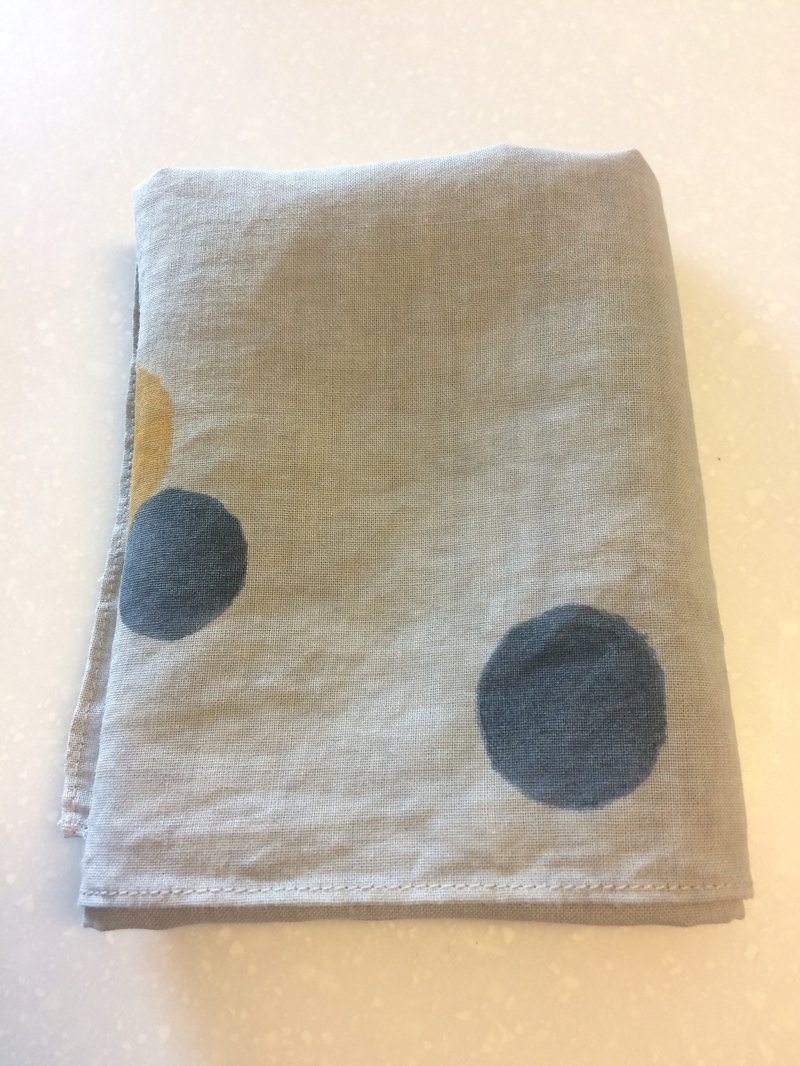 Mineral dyed hand-painted linen / cotton handkerchief colorful (Shinkawa gray background)