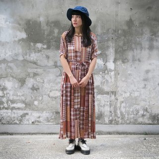 Ancient Japanese Department of orange coffee lattice short-sleeved dress