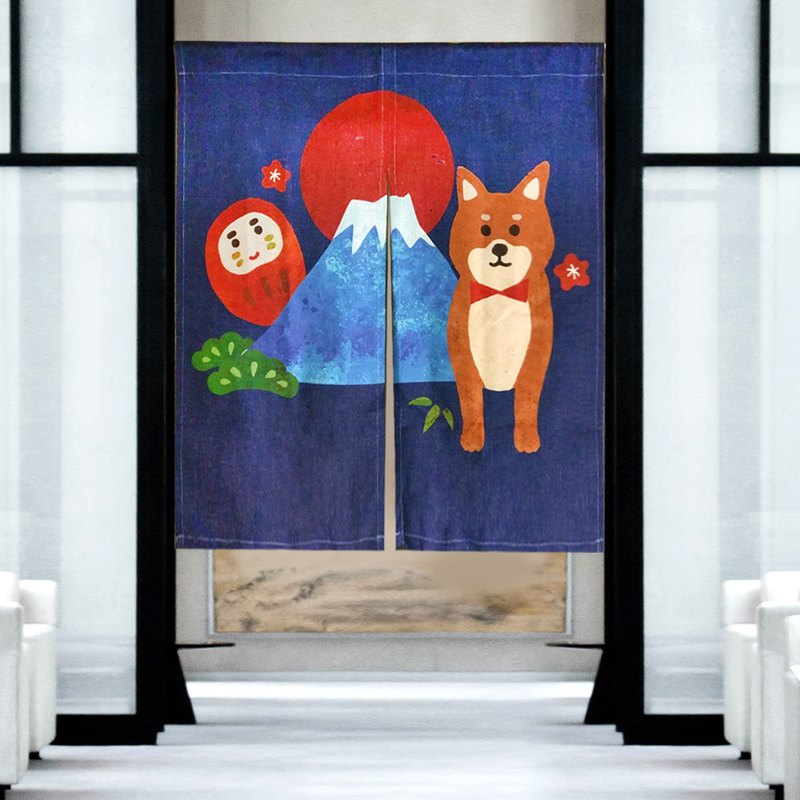 Curtain curtain cotton and linen dog Mt. Fuji