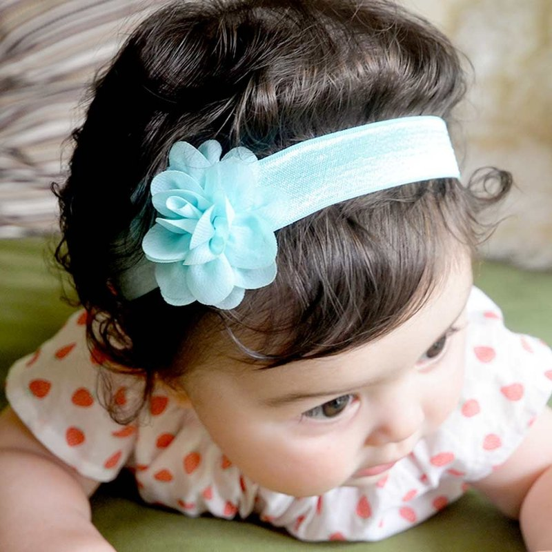 US Joli Sophie ribbon into 3 - blue, green and pink flowers bow JSHB3TPP0