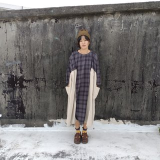 Vintage Plaid cotton velvet dress _ gray white