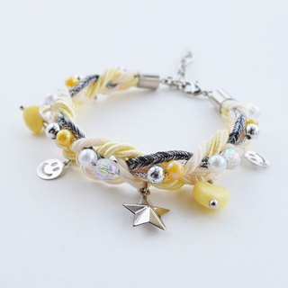 Smiley charms braided bracelet in yellow color