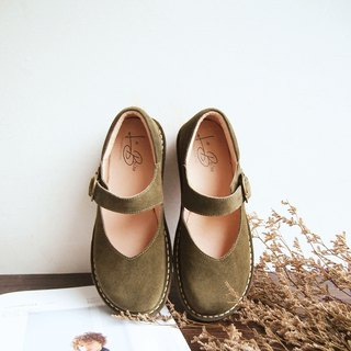 Suede Big Head Mary Jane Shoes (Olive Green)