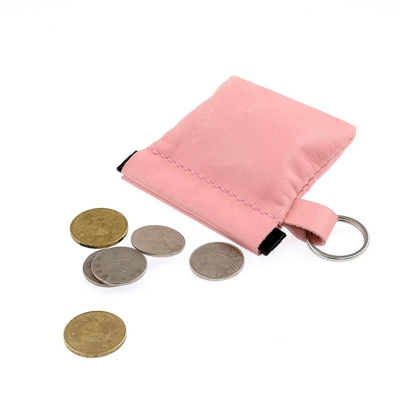 【U6.JP6 handmade leather goods】 - hand-made sewing shrapnel manual wallet, universal package / pink