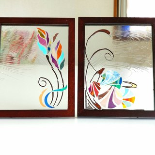 Wood frame  glass photo frame 2 piece set  With love