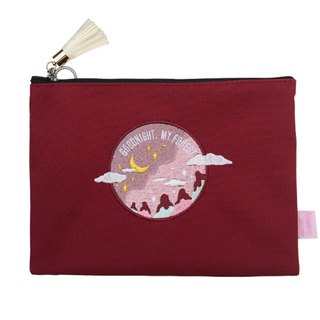 A. Strawberry Sleeping Forest Embroidery Makeup Bag - Wine Red